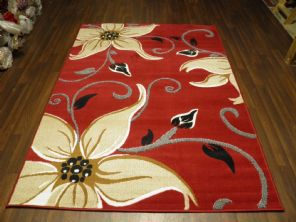 Modern Approx 7x5 150x210cm Woven Lily Design Rugs Sale Top Quality Red/Beige